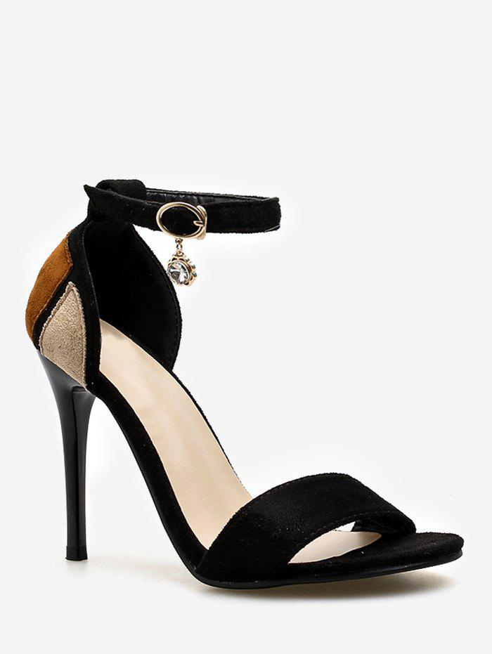 Best Stiletto Heel Contrasting Color Ankle Strap Sandals