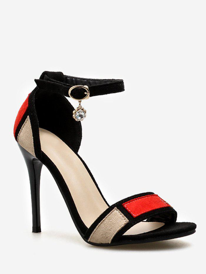 Fancy Stiletto Heel Contrasting Color Ankle Strap Sandals