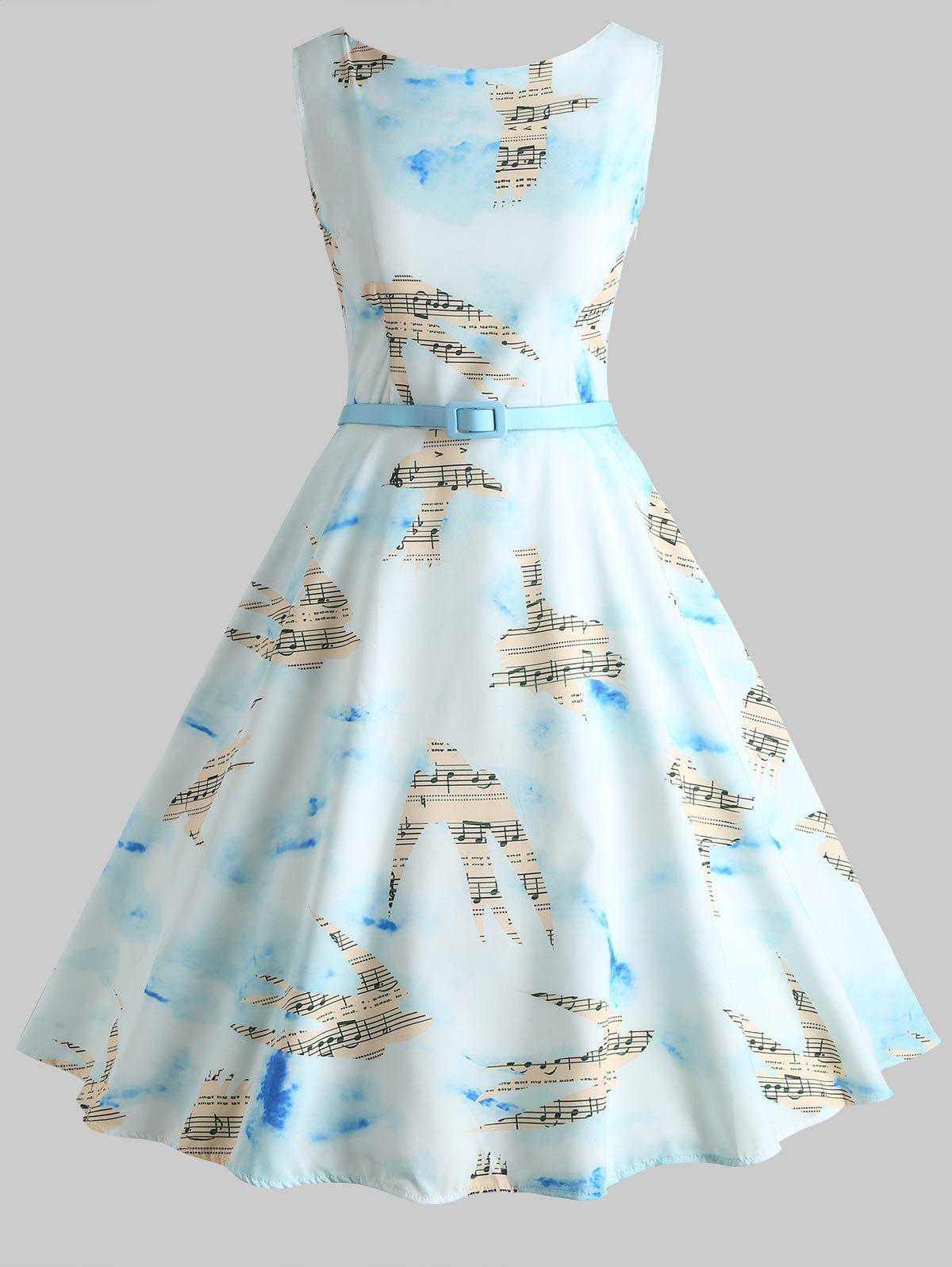 Fashion Musical Notes Birds Print Vintage Dress