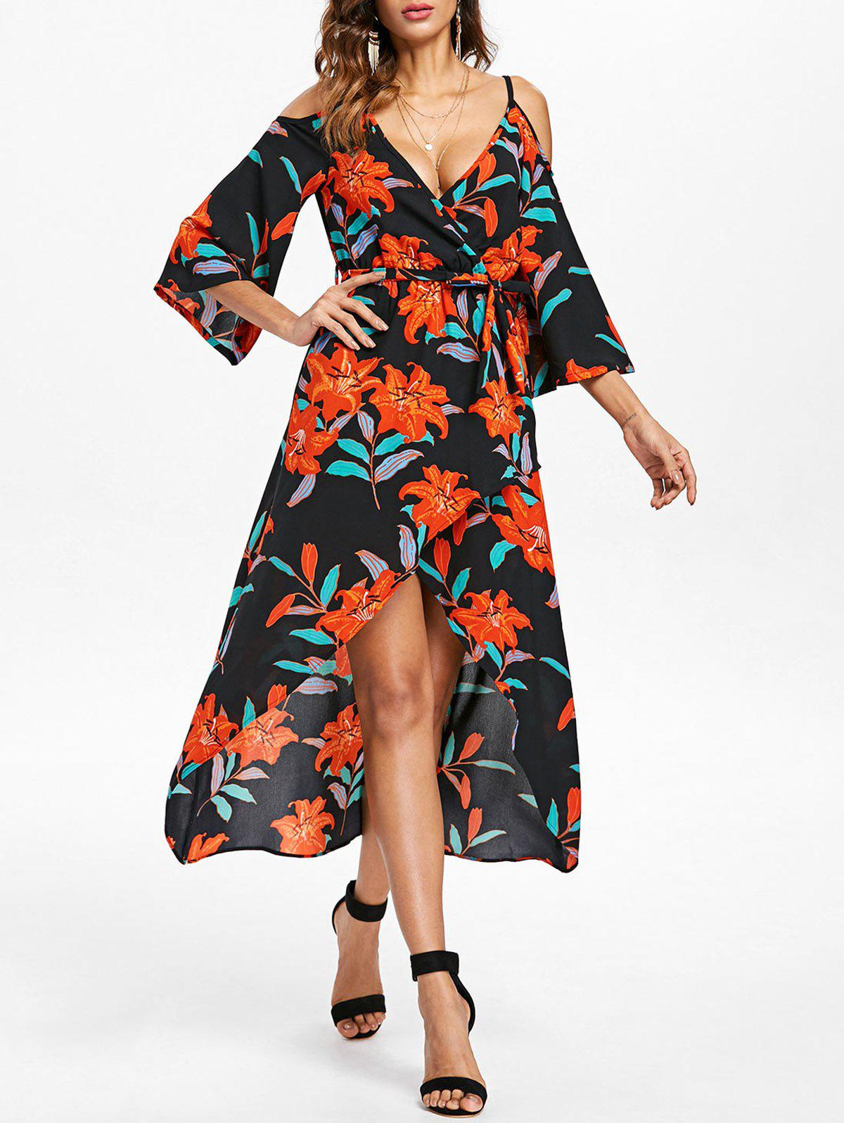 Chic Cold Shoulder Front Slit Floral Dress