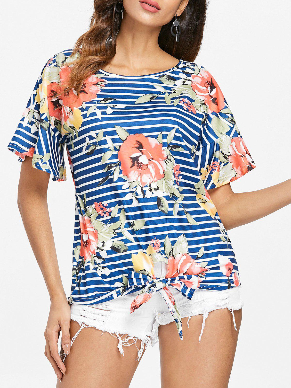 Fashion Stripe and Floral Print Knotted T-shirt