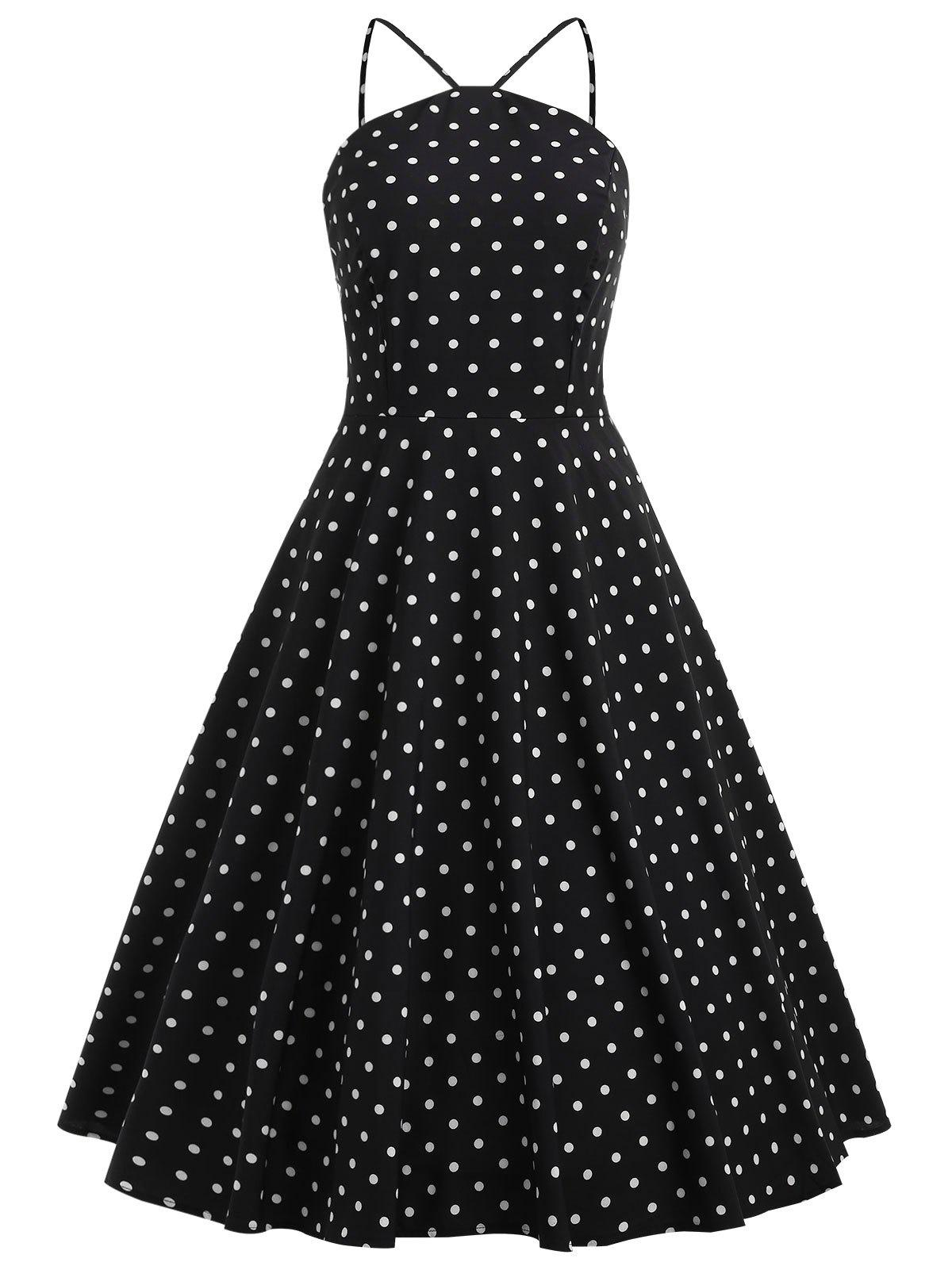 Sale Knee Length Polka Dot Swing Dress