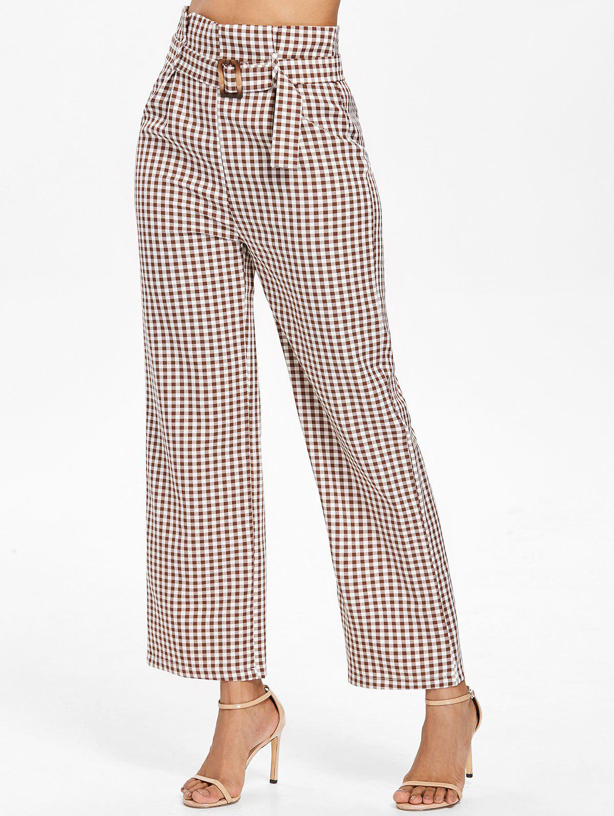 Discount Belted High Waist Gingham Pants