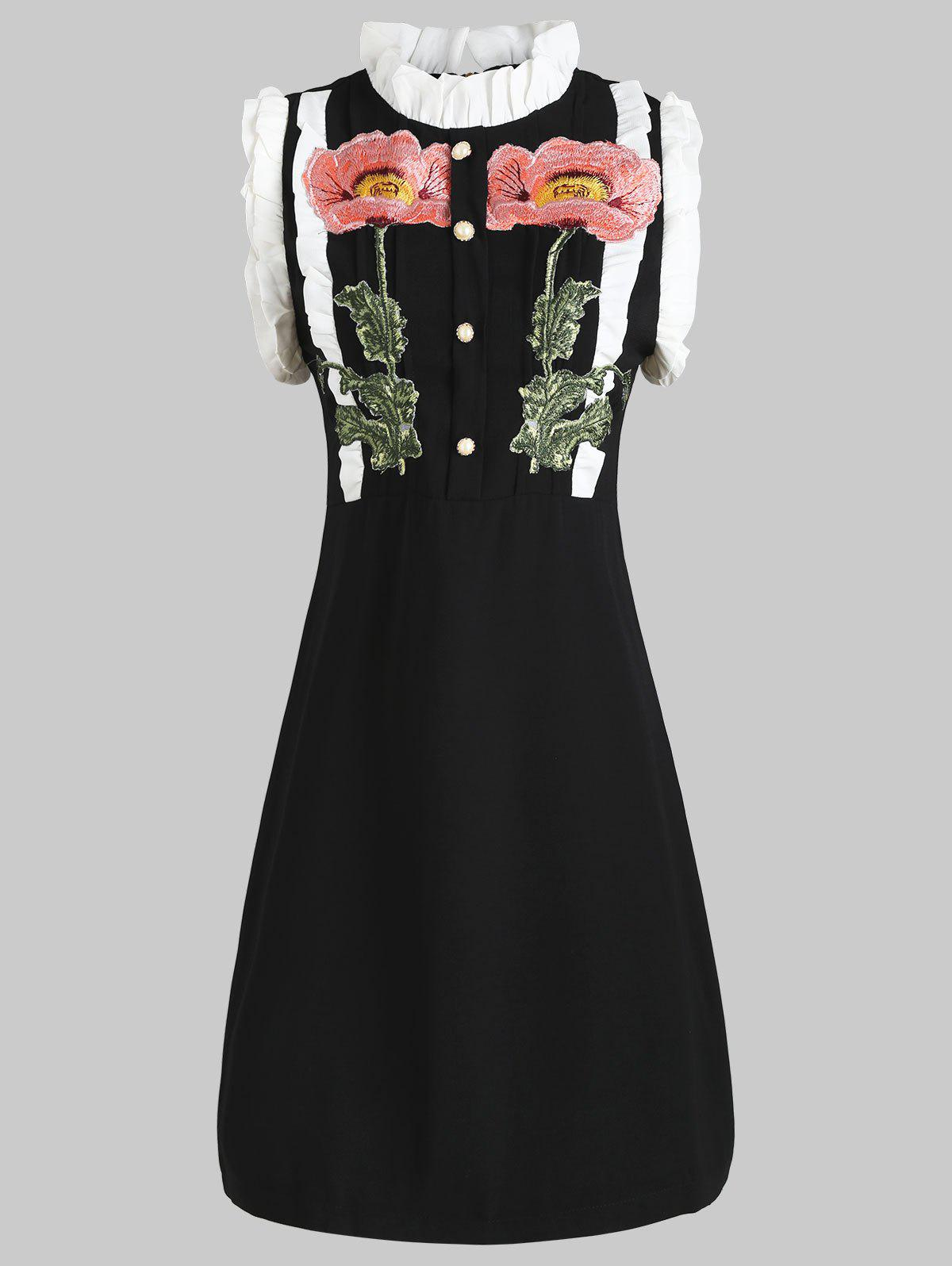 Chic Ruffled Buttoned Embroidery Dress