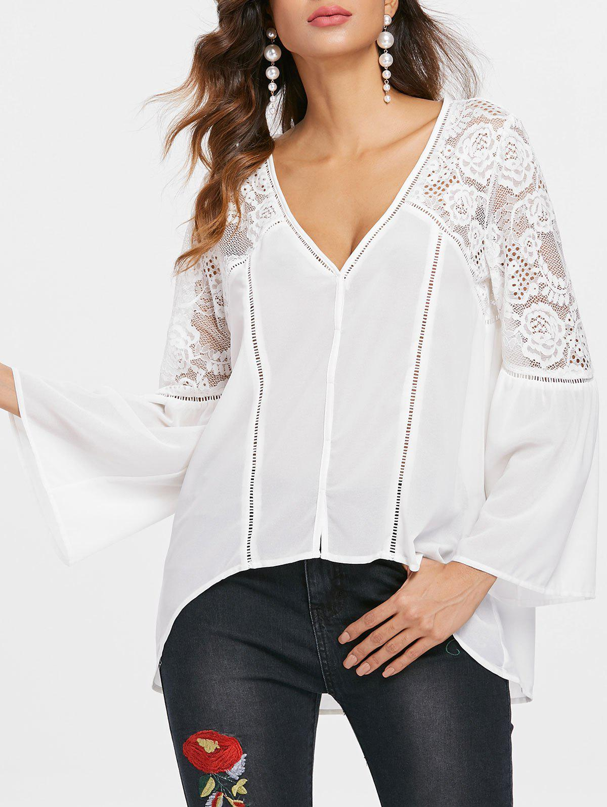 Online Sheer Lace Insert Flare Sleeve Blouse