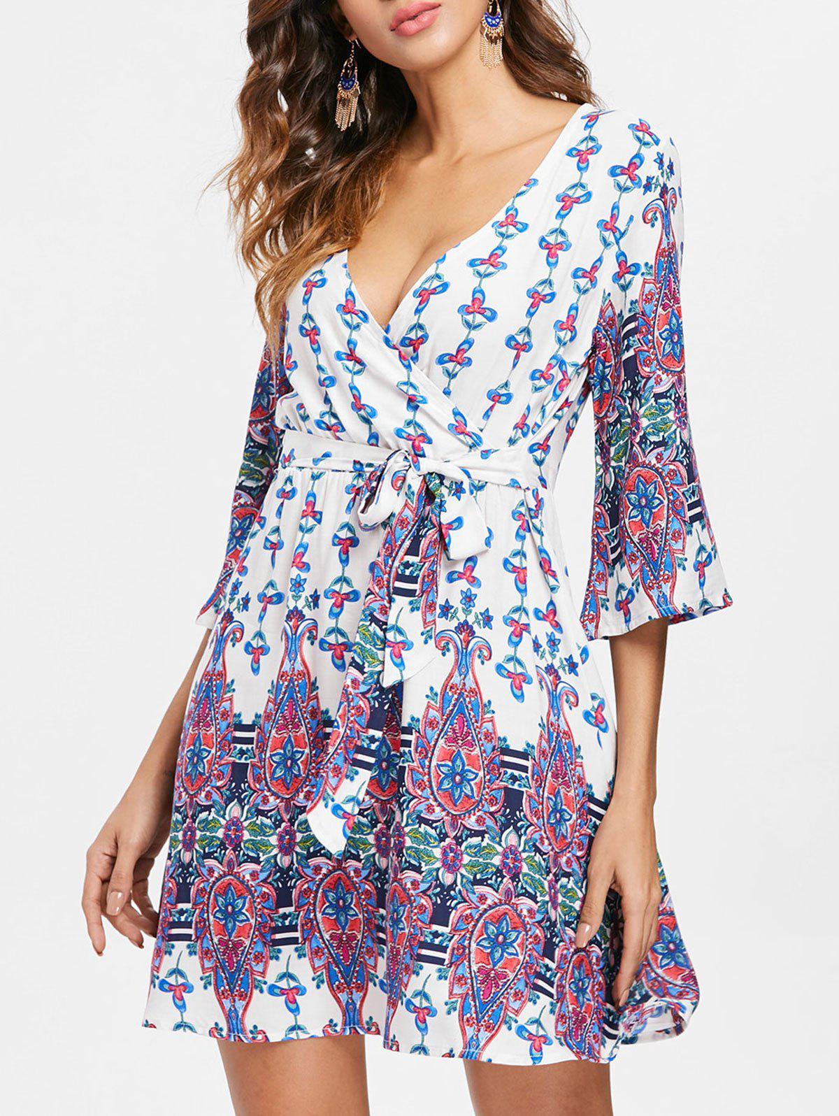 Discount Bohemia Print Faux Wrap Dress
