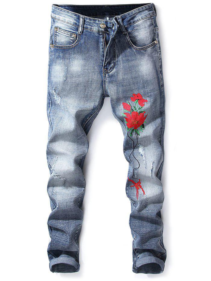 Online Floral Embroidery Slim Fit Jeans