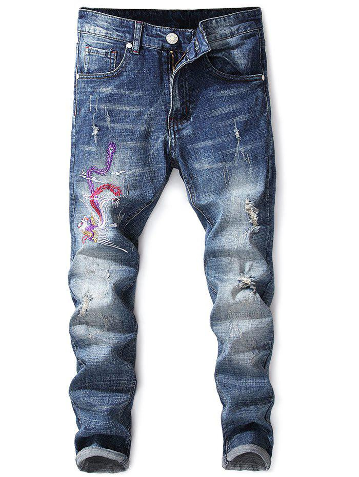 Latest Phoenix  Embroidery Destroyed Zip Fly Jeans