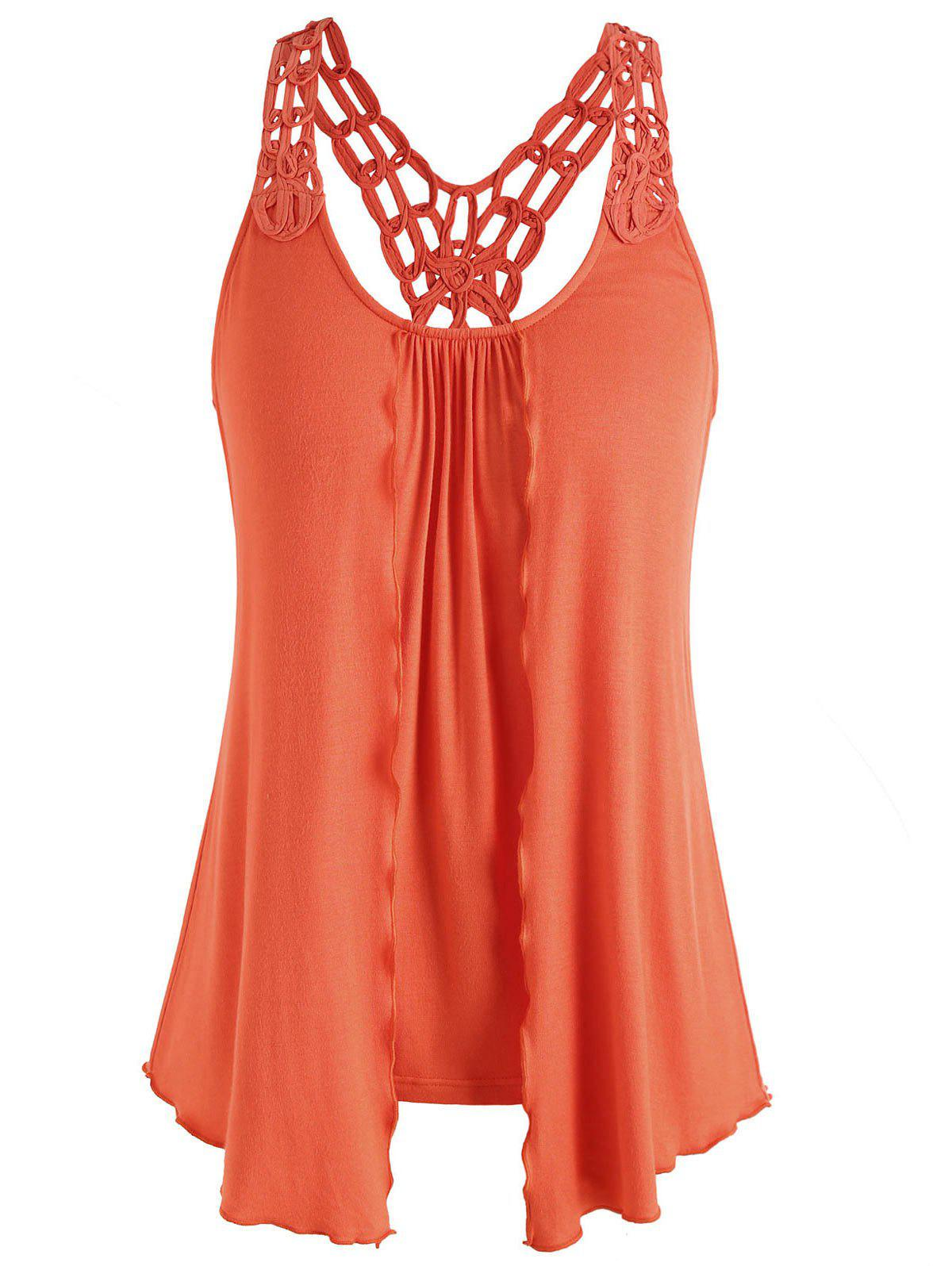 Online Double Layered Crochet Back Tank Top
