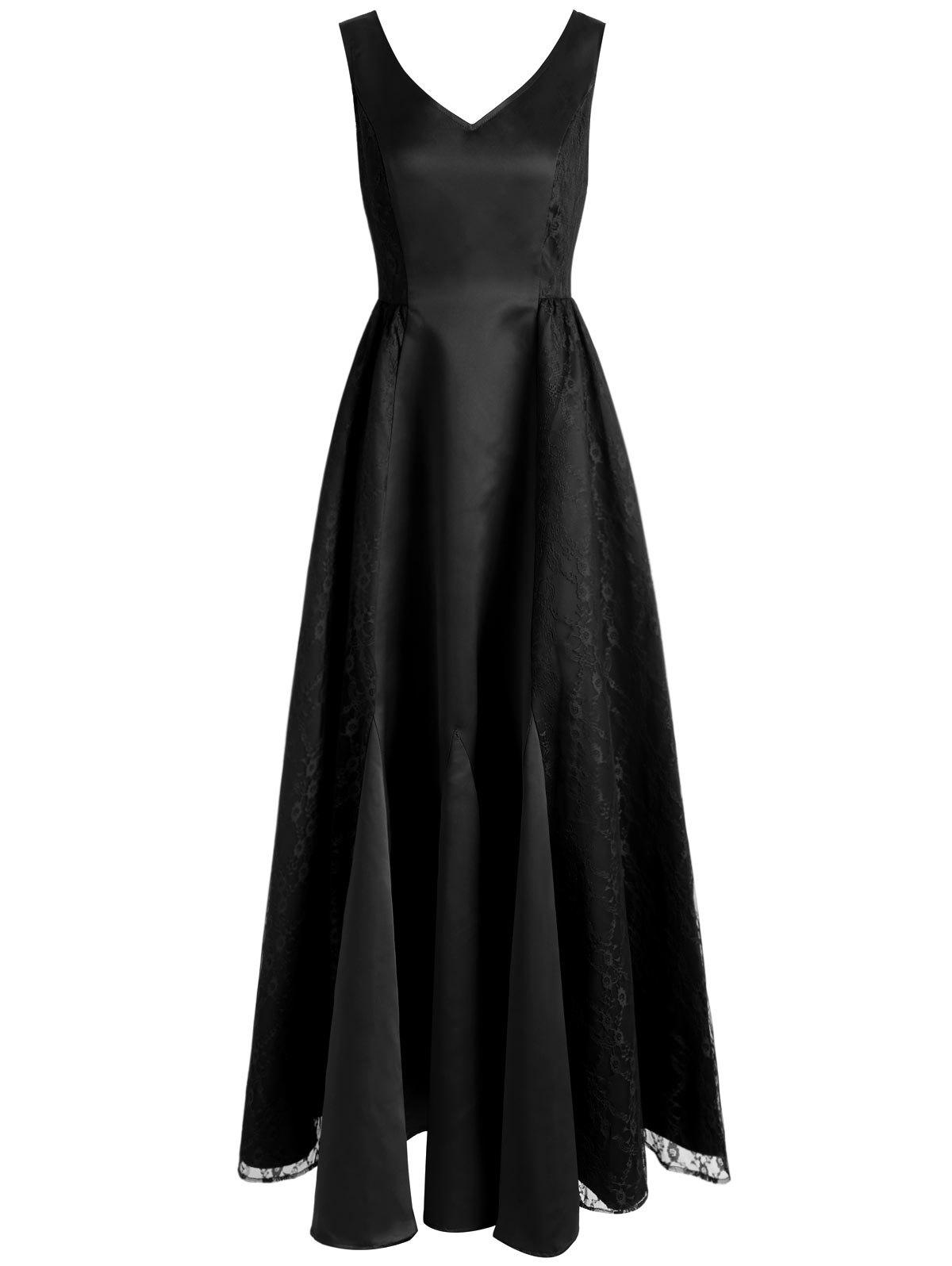 Discount V Neck Maxi Party Dress