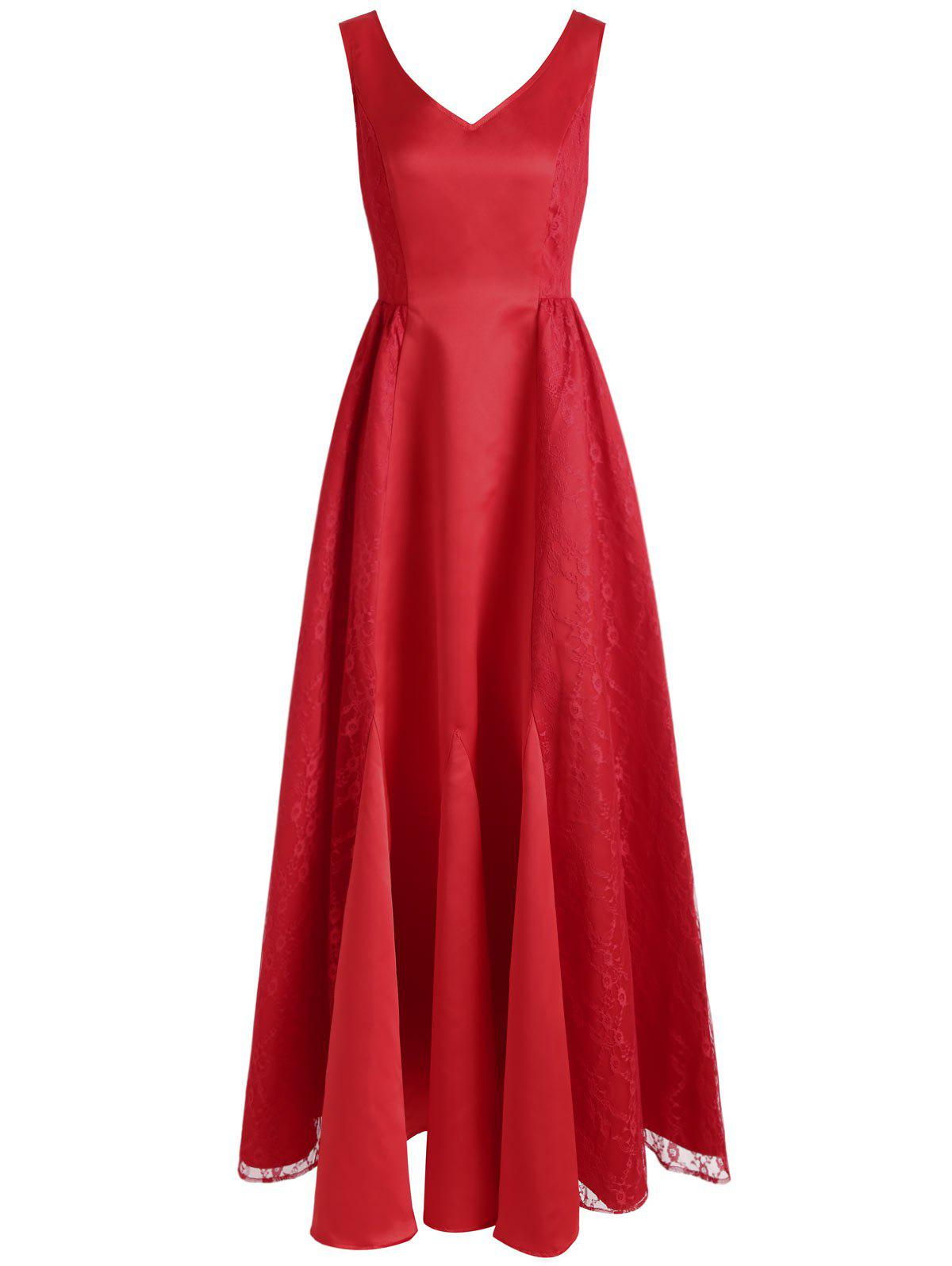 Store V Neck Maxi Party Dress
