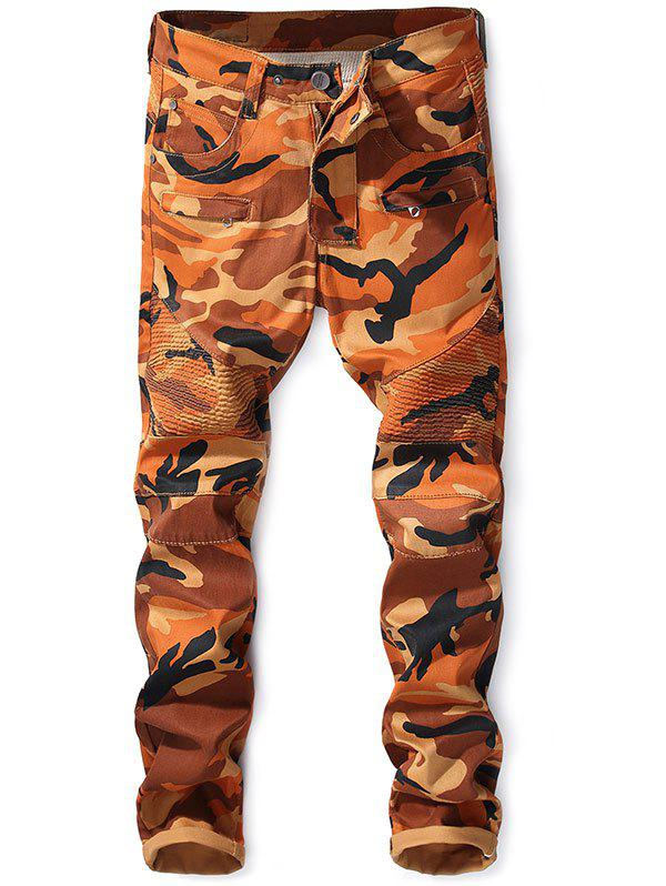Discount Zipper Fly Narrow Feet Camo Biker Jeans