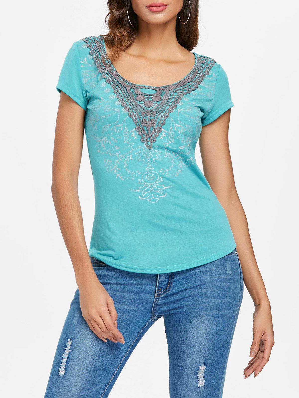 Outfit Scoop Neck Applique T-shirt