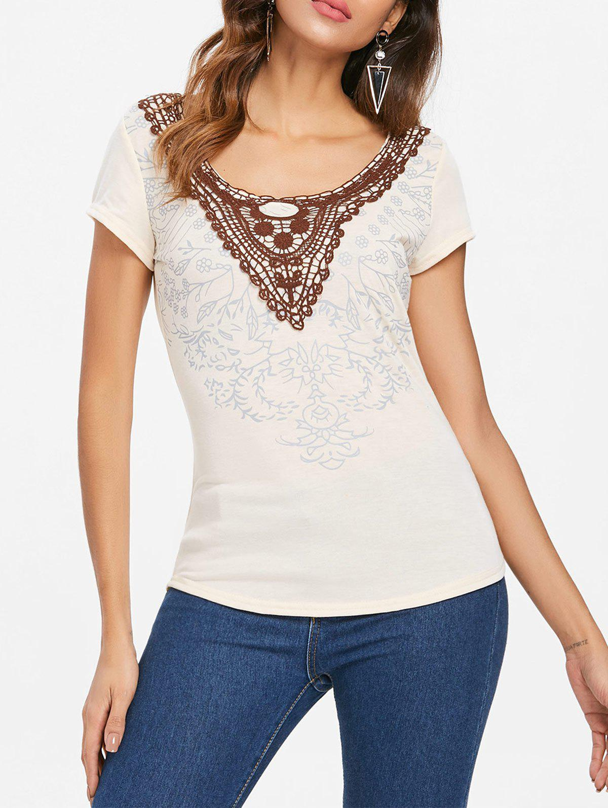 Sale Scoop Neck Applique T-shirt