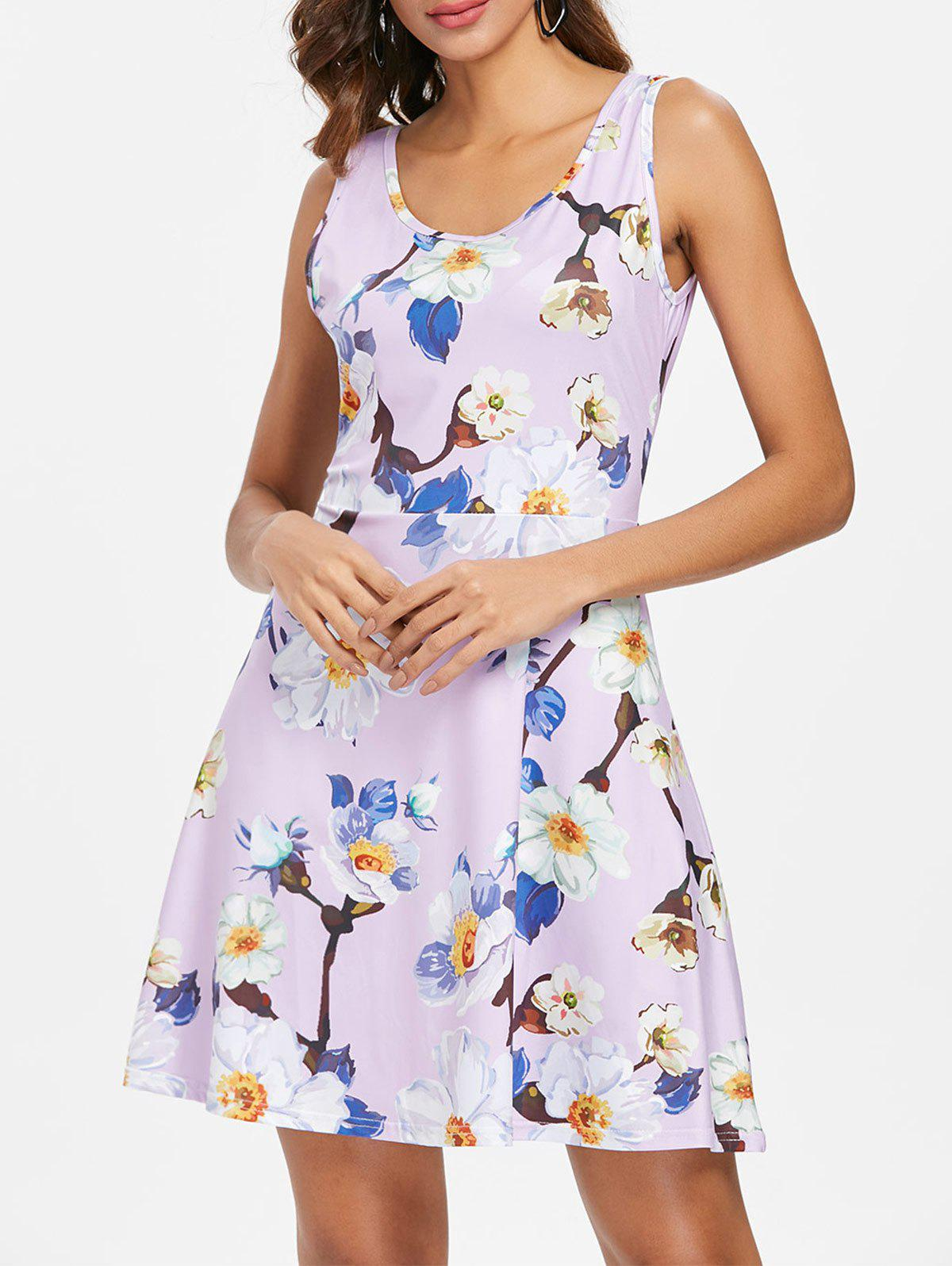 Outfits Round Neck Floral Flare Dress