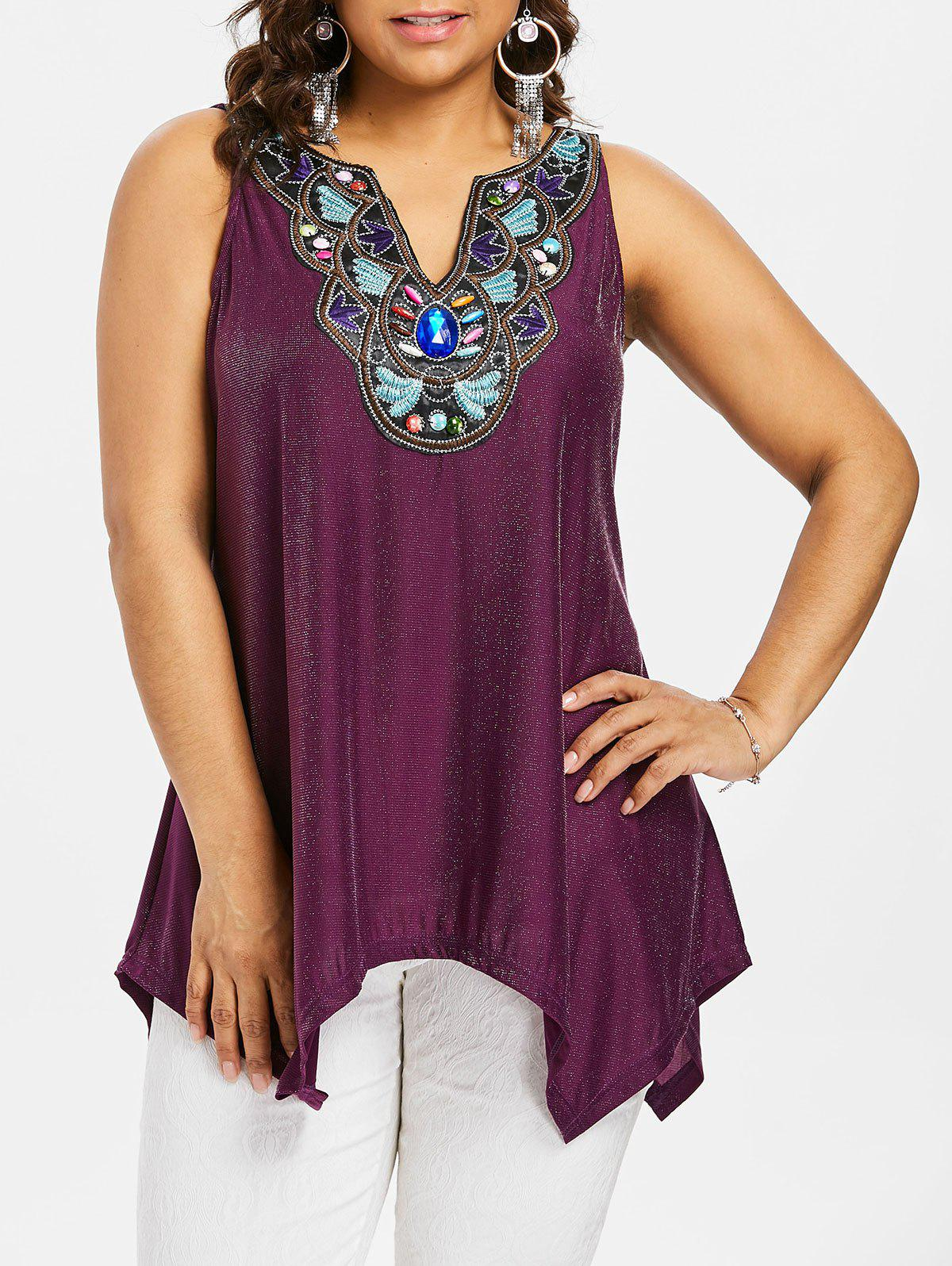 Sale Plus Size Glitter Sharkbite Hem Tank Top