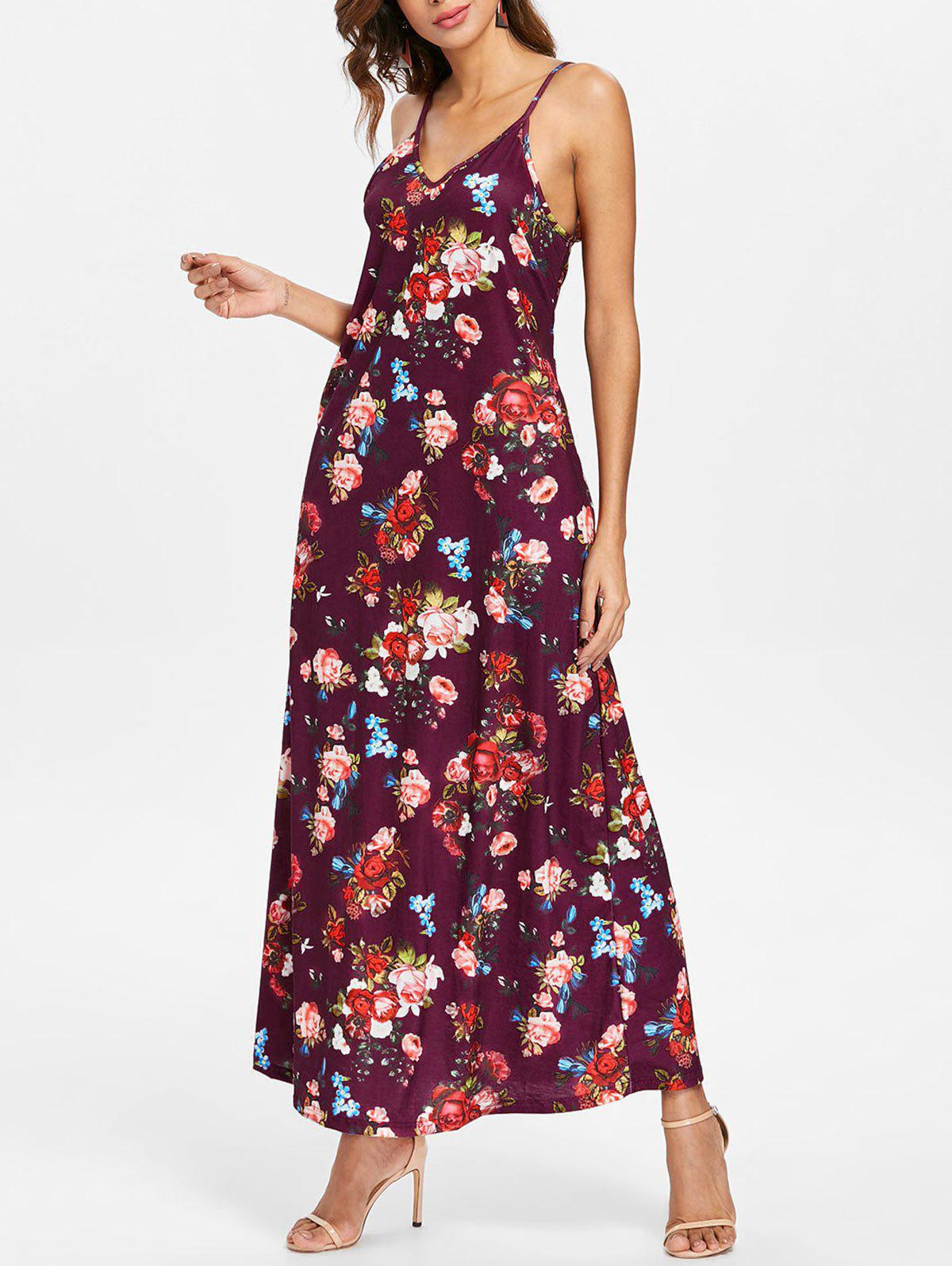 Discount Floral Print Front Pocket Maxi Dress