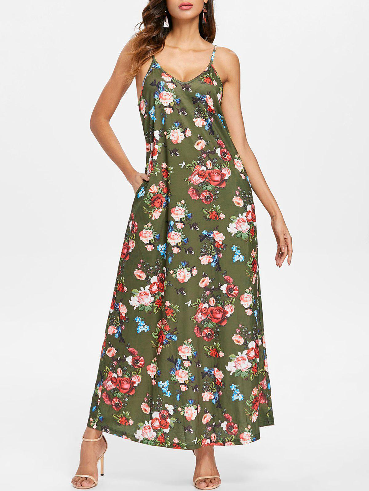 Fancy Floral Print Front Pocket Maxi Dress