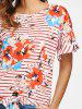 Stripe and Floral Print Knotted T-shirt -