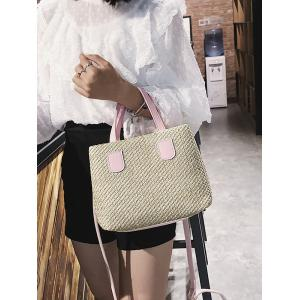 Color Block Minimalist Straw Outdoor Holiday Handbag -