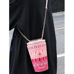 Zip Around Bucket Shaped Print Leisure Sling Bag -