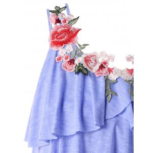 Plus Size Embroidery Tiered Ruffle Tank Top -