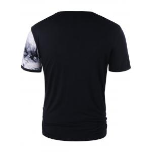 Lace Up Ink Print Short Sleeve T-shirt -