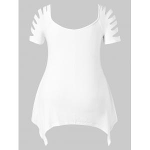 Shredding Sleeve Plus Size Lace Panel T-shirt -