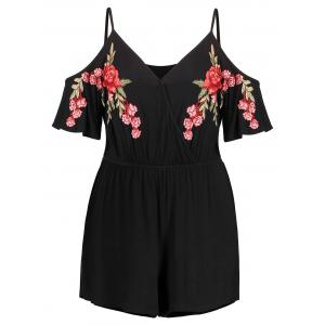 Plus Size Flare Sleeve Embroidery Romper -