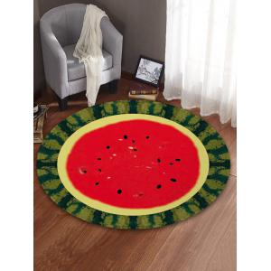 Watermelon Printed Round Coral Fleece Floor Mat -