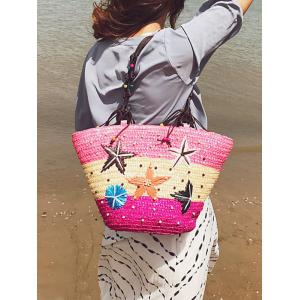 Color Block Straw Beaded Embroidery Beach Tote Bag -