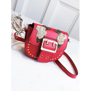 Sequins Embroidery Chic Studs Buckle Crossbody Bag -