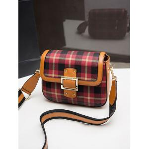 Contrasting Color Plaid Buckled Crossbody Bag -