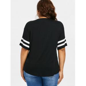 Plus Size Lace Up Double Stripe T-shirt -