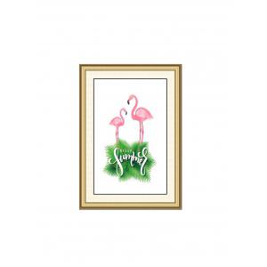 Summer Flamingo Print Wall Sticker for Bedrooms -