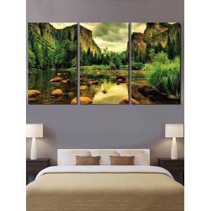 Mountains River Print Unframed Split Canvas Paintings -