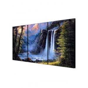 Mountains Waterfall Print Unframed Split Canvas Paintings -