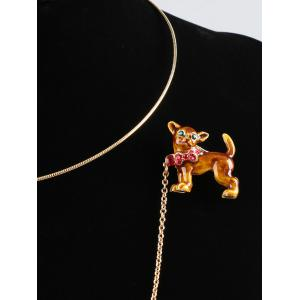 Dog Shaped Brooch with Simple Collar Necklace -