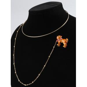 Dog Designed Brooch with Collar Necklace -
