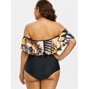 Flounce Print Plus Size One Piece Swimsuit -