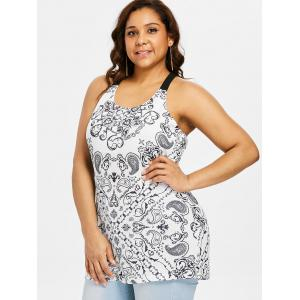 Plus Size Cutout Paisley Tank Top -