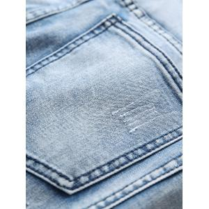 Ripped Holes Five-pocket Biker Jeans -