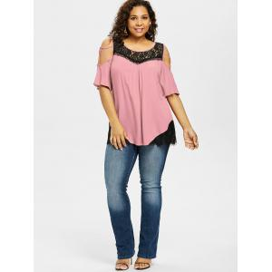 Plus Size Cutout Contrast Lace Trim T-shirt -