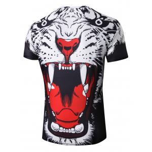 3D Opening Mouth Tiger Printed T-shirt -