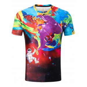 Guitar Robot Paint Print Tee Shirt -