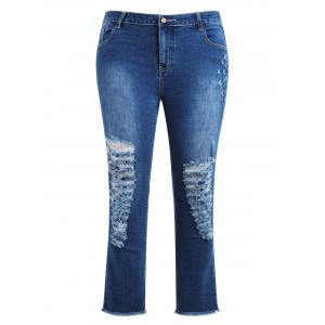 Plus Size Distressed Frayed Jeans -