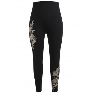 Plus Size High Waisted Embroidered Leggings -