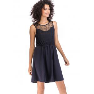 Lace Round Neck Pleated Evening Sleeveless Dress -