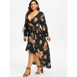 Plus Size Slit Sleeve Floral Maxi Dress -