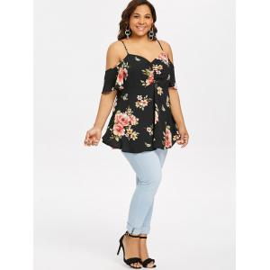 ROSEGAL Plus Size Sweetheart Neck Floral Blouse -
